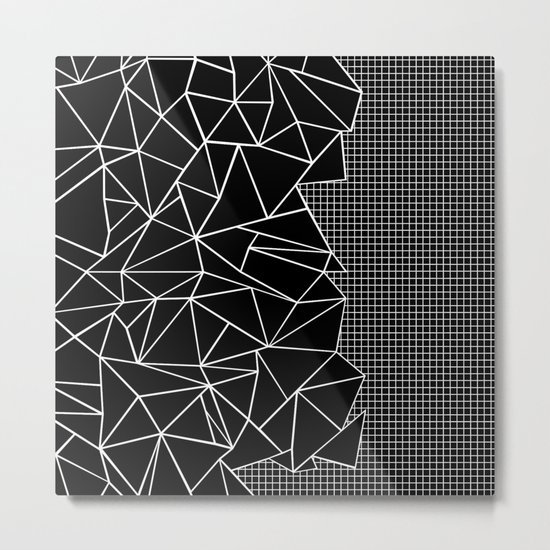 Abstract Grid Outline White on Black on Side Metal Print