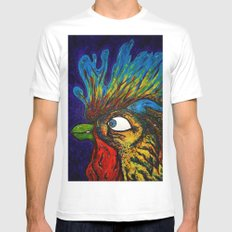Rooster, Gnarley MEDIUM White Mens Fitted Tee