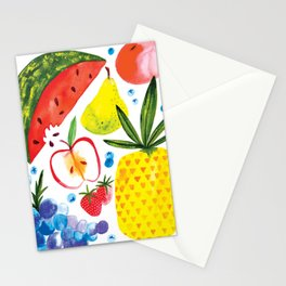 Fruit Watercolor - Pineapple, Watermelon, Strawberry Stationery Cards