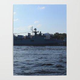 "The military ship ""Admiral Makarov"" 799. The Neva River. Poster"