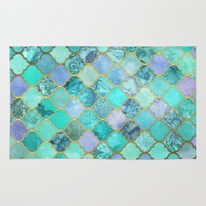 Cool Jade & Icy Mint Decorative Moroccan Tile Pattern Rug