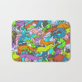 Cats Kitties Squared in Full Color by Lisa Rotenberg Bath Mat