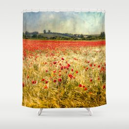 Rainy Day Poppies Shower Curtain