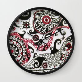 Black and White and Red Wall Clock