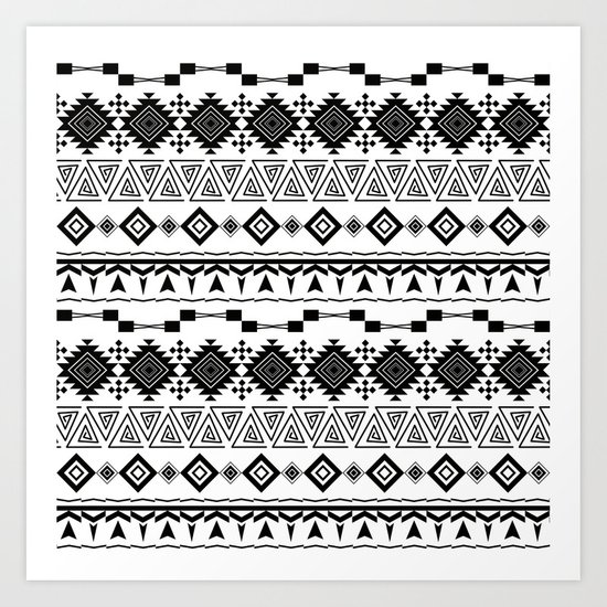 Aztec black white pattern. Art Print