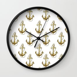 Golden anchor Wall Clock