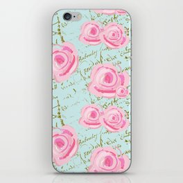 Pink  Roes and French Script iPhone Skin