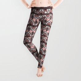 Blush Pink Black and White Ornate Lace Pattern Leggings