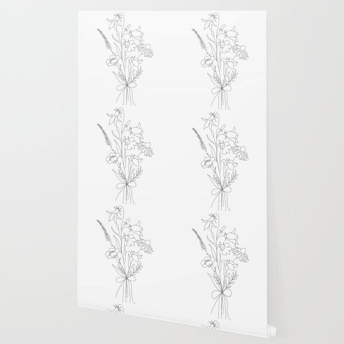 Small Wildflowers Minimalist Line Art Wallpaper