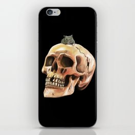 Cracked skull with mouse iPhone Skin