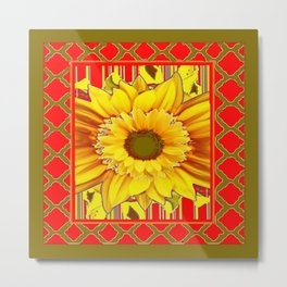 AVOCADO COLOR RED YELLOW SUNFLOWER ART Metal Print