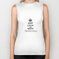 vampire diaries Biker Tanks featuring Keep Calm And Watch The Vampire Diaries by swiftstore