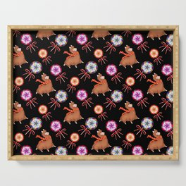 funny baby llamas, sweet vintage retro lollipop candy with ribbons. Cute nursery pattern design Serving Tray