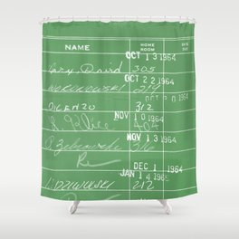 Library Card 23322 Negative Green Shower Curtain
