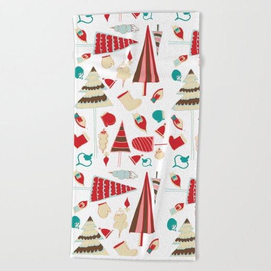 Vintage Christmas white Beach Towel
