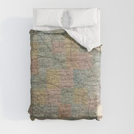 Vintage Map of Iowa (1875) Comforters
