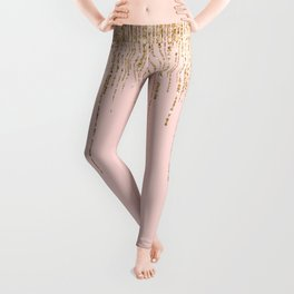 Luxury Blush Pink Gold Sparkly Glitter Fringe Leggings