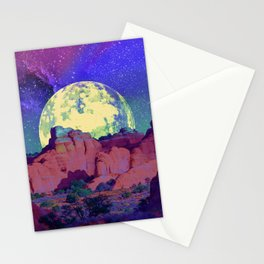 night desert landscape Stationery Cards