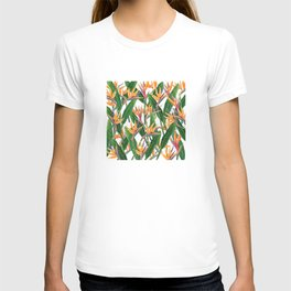 bird of paradise pattern T-shirt