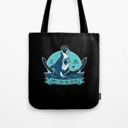 Shark With Anchor Motif Tote Bag
