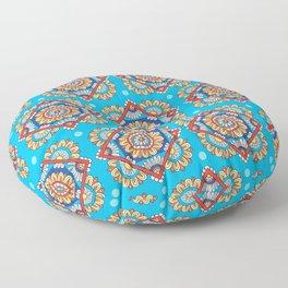 Bright Blue Diamond Floral Floor Pillow