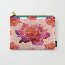 Teal Old Purple-Gold Roses Pink-Yellow Art Design Carry-All Pouch