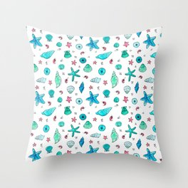 Shells and Shrimps Throw Pillow