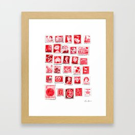 Red Stamp Collection Love Letters Valentine Romantic Pink Sexy Framed Art Print