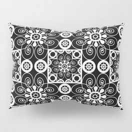 Retro .Vintage . Black and white openwork ornament . Pillow Sham