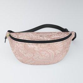 Modern rose gold floral illustration on blush pink Fanny Pack