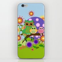 bebop iPhone & iPod Skins featuring Owls, Flowers Fantasy design by thea walstra
