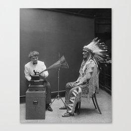 Frances Densmore recording Mountain Chief Canvas Print