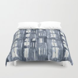 Simply Shibori Lines in Indigo Blue on Lunar Gray Duvet Cover