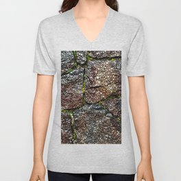 Rock Wall with Moss Abstract Unisex V-Neck