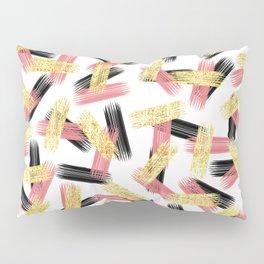 Elegant Pink, Black, and Gold Brushstroke Pattern Pillow Sham