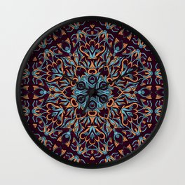 Brown and blue geometric Mandala Rich ornament Wall Clock
