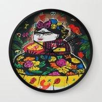 potato Wall Clocks featuring Frida Potato by cristenhoyt