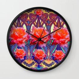 Colorful Art Nouveau Roses Vintage Design Wall Clock
