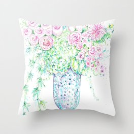 Blue vase of pink flowers Throw Pillow