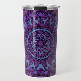 Bohemian Mandala in Plum with Turquoise Travel Mug