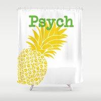 psych Shower Curtains featuring Minimalist Psych  by Canis Picta