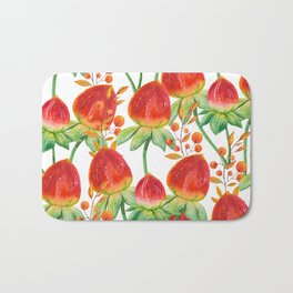 Watercolor hand painted red orange yellow tulip flowers Bath Mat