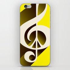 Yellow Retro Shadow Music & Peace iPhone & iPod Skin