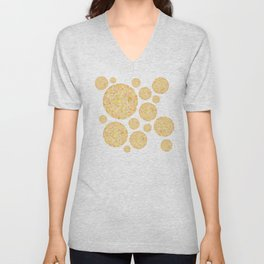 Yellow Round Gem Pattern Unisex V-Neck