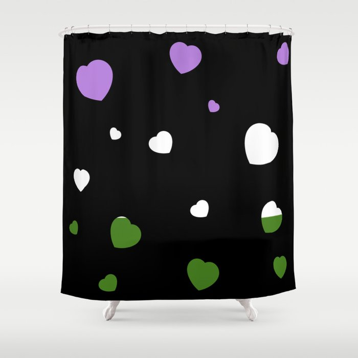 Chaotic Hearts, Pride Flag Series: Genderqueer Shower Curtain