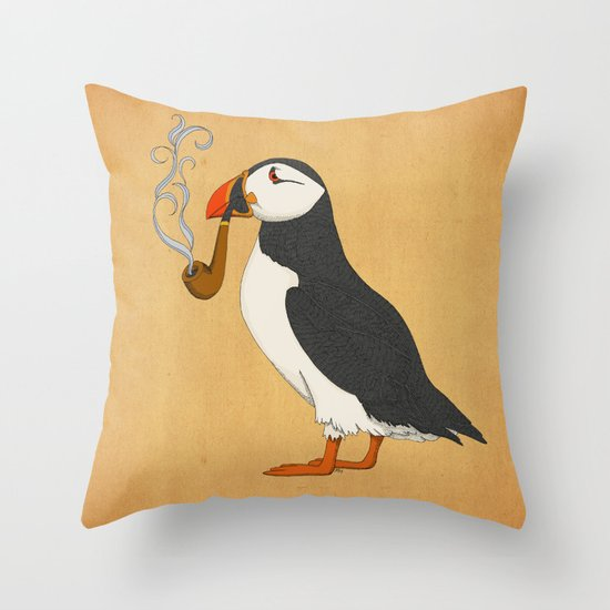 Puffin' Throw Pillow