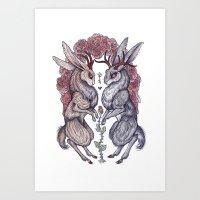 rare Art Prints featuring Rare Hearts by Caitlin Hackett