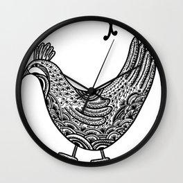 Chicken Pen Draw by WildArtLine Wall Clock