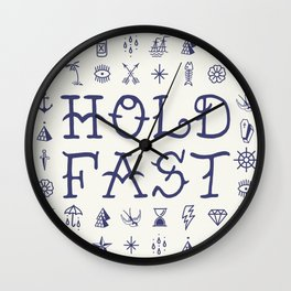 Uncle Knuckles - Hold Fast - Navy on Off White Wall Clock