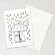 Mimos under Rainbow rain Stationery Cards